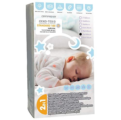 BISOO 70x160cm Sabana MiniCama Infantil Protectora Impermeable y Transpirable - 2en1 - Protector de Colchón Bebé + Sabana Bajera - 100% Jersey 160GSM OEKO-TEX (70x160 Gris)