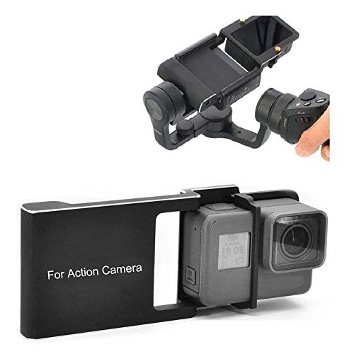 Kingwon Action Camera Adapter compatibel met GoPro Hero 6/5/4/3 + voor DJI OSMO Mobile 2/Zhiyun Smooth 4, aluminiumlegering