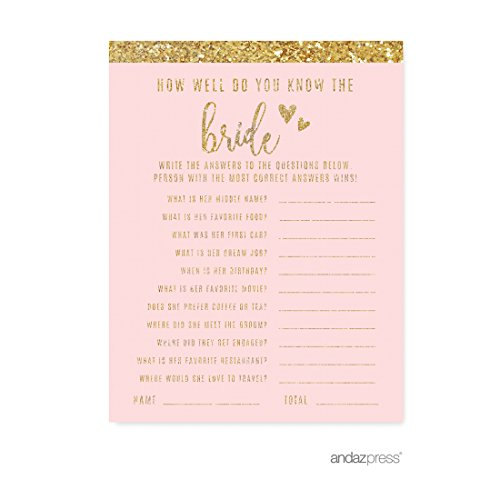 Andaz Press Blush Pink Gold Glitter Print Wedding Collection, How Well Do You Know the Bride? Bridal Shower Game Cards, 20-Pack