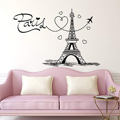 Torre Tatuajes de pared Paris Silueta Aviones Vinilo Pegatinas de pared Arte Decoración para el hogar Letras de letras Francia Amor Dormitorio Dormitorio 57x84 cm