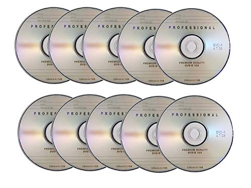 UPVsales 10Nos Professional Blank DVD-R as 16X 4.7GB - Pack of 10