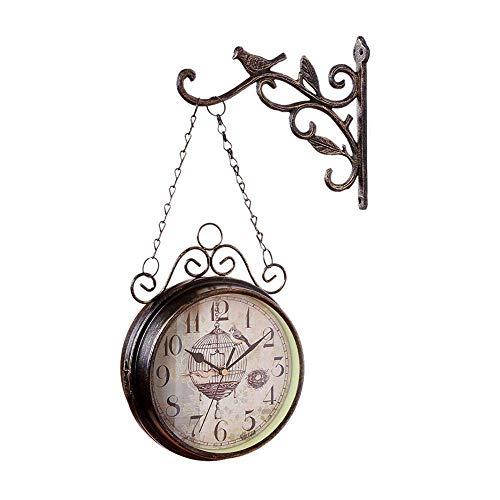 LKOER Relojes de jardín al Aire Libre Impermeable Doble Cara, Vintage de Aspecto Antiguo de Pared o Interior y jardín, Bronce 18 cm Estilo Retro jinyang