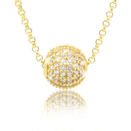 PAVEL ✮S Elegante damesketting gouden grace bol ketting 18 karaat verguld met echte zirkonia in AAA kwaliteit incl. sieradendoos en certificaat van echtheid