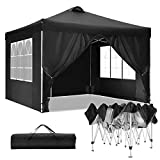 TOOLUCKCANOPY 10x10FT Outdoor Pop Up Canopy Beach Camping Canopy with Air Vent, Heavy Duty Gazebo with 4 Sun Walls, 4 Canopy Sandbags, 100 Sq. Ft of Shade (10x10ft, Black)