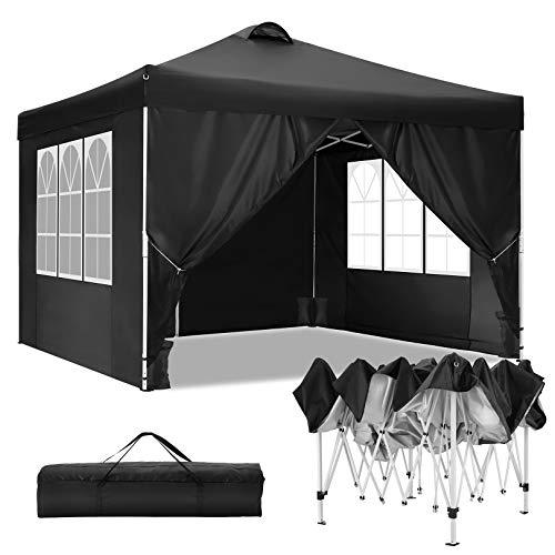 TOOLUCK Faltpavillon Wasserdicht Dachmaß 3 x 3 m Pavillon Partyzelt Gartenpavillon mit Entlüftung, 4 Seitenteilen und 4 Sandsack, Schwarz