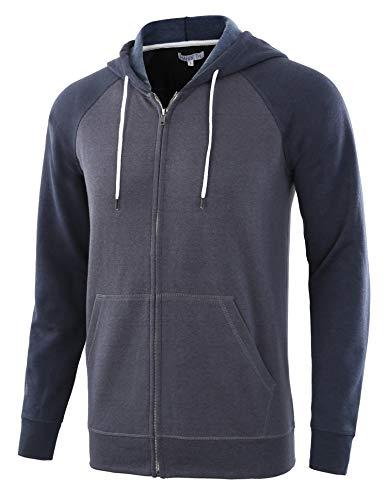 HARBETH Men's Athletic Fit Full Zip Fleece Hooded Sweatshirt Active Hoodie Cadet Blue/Navy XXL