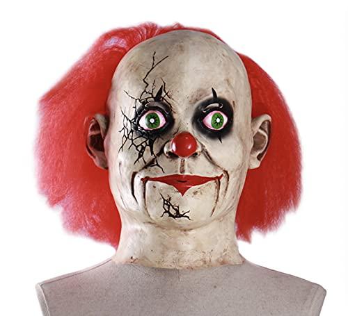 BDTOT Máscara de Halloween, Máscara AterradoraHalloween Máscara de Látex con Pelucas Accesorios de decoración Espeluznante de Fiesta de Disfraces de Halloween