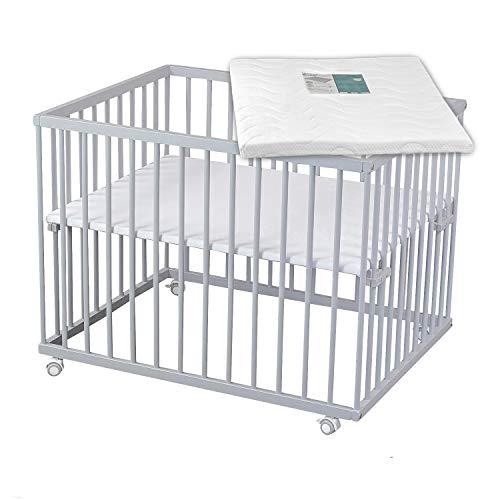 Sämann Laufgitter 75x100 cm mit Matratze, TÜV geprüft 2020, stufenlos höhenverstellbar, Baby Laufstall, Buche (grau)