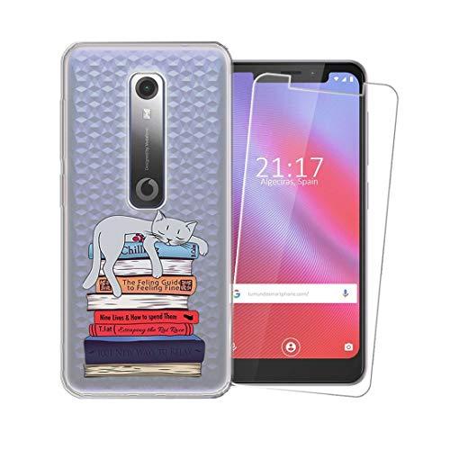 SCDMY Handyhülle für Vodafone Smart N10 Hülle + Panzerglas displayfolie,Weich Transparent Schutzhülle, Starker Schutz Silikon Case TPU Schale Und HD Panzerglas für Vodafone Smart N10 (5.67