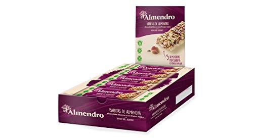 El Almendro - Barritas de Almendra, Chocolate Blanco y Frutos Rojos - 10x25 gr - Sin Gluten - Sin Aceite de Palma - Fuente de Fibra