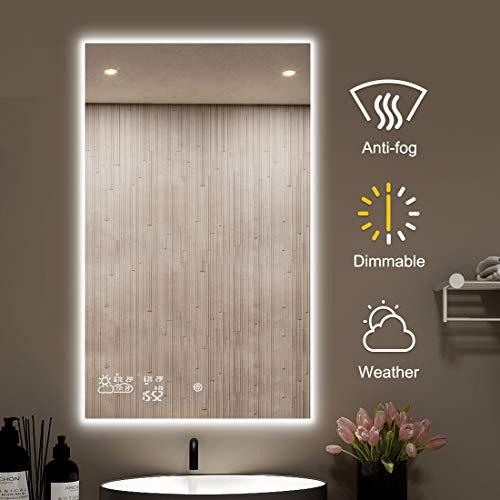 byecold Badspiegel mit LED Beleuchtung Verstellbar Wandspiegel Badezimmerspiegel Lichtspiegel Touch Schalter Smart WiFi Antibeschlag Uhr Wetter Datum Temperatur Luftfeuchtigkeit-Vertikal 60x100CM