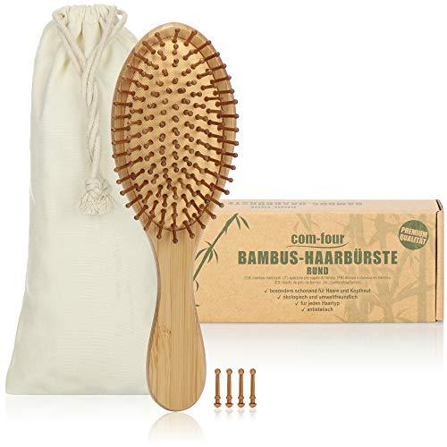 com-four® Natur-Haarbürste aus Bambus - Umweltfreundliche Bürste mit Naturborsten für natürlich schöne Haare - Für Männer, Frauen, Kinder - 100{b41c46aa618bb7009afc4e52ca7f21d53736785b397fde360ce62e2c3bbf7388} Vegan (1 Stück - Allzweckbürste)