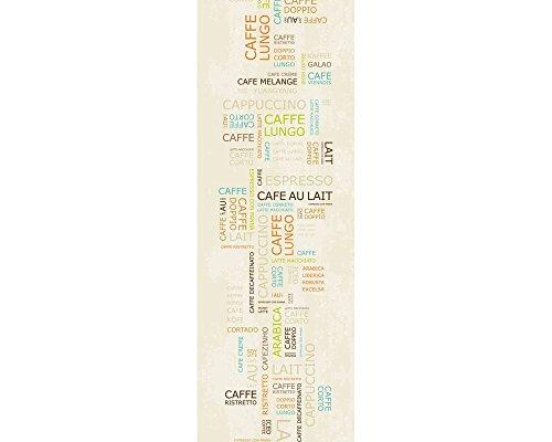 awallo Dekopanel Motiv Kaffee-Schrift in den Farben Beige, Braun, Grün, Orange, Türkis Fototapete in 100x280cm auf Vliestapete Made in Germany einfache und schnelle Verarbeitung