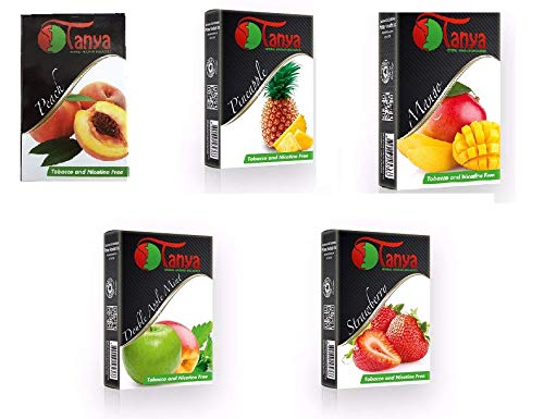 Herbal 250g, 5 Mix: Double Apple Mint, Strawberry, Mango, Peach & Pineapple, Hookah Shisha Tobacco Free Molasses (Flavor 2)