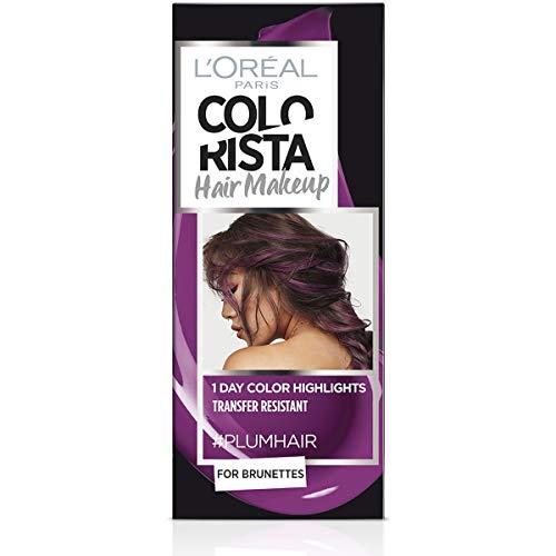 L Oréal Paris Colorista Hair Makeup Colorazione Temporanea 1 Giorno per Ciocche e Punte, Tinta per Capelli Castani, Meches Viola Prugna, 30 ml