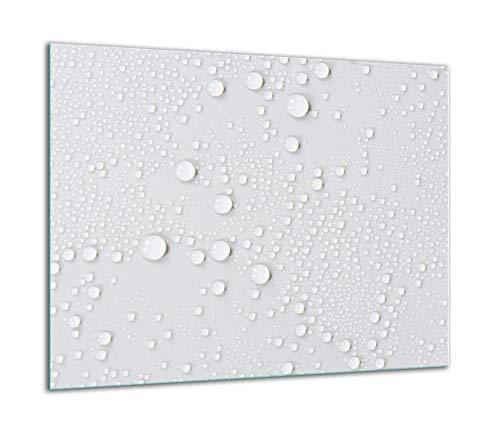 QTA - Placa protectora de vitrocerámica 60 x 52 cm 1 pieza cocina eléctrica universal para inducción protección contra salpicaduras tabla de cortar de vidrio templado como decoración Blanco