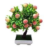 YUXINYAN Decorar 1pc Potted Artificial Peach Fruit Tree Bonsai Home Garden Desktop Decor Prop Pary DIY Decoración Adornos