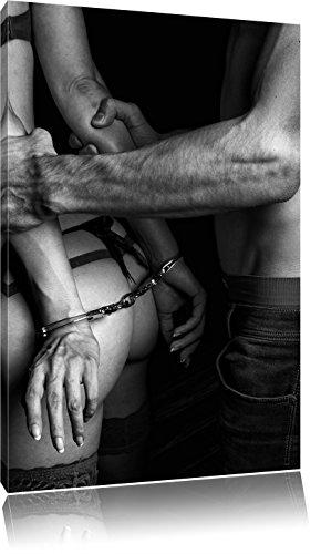 Pixxprint Sexy Frau in Handschellen als Leinwandbild | Größe: 60x40 cm | Wandbild | Kunstdruck | fertig bespannt