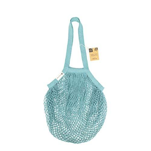 Wild & Stone | Diamant-Mesh-Einkaufstasche, Aqua, 100 % Bio-Baumwolle, Tragetasche, langer Schultergriff.