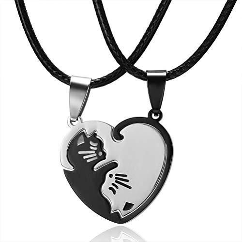 Tixiyu Juego de 2 collares con forma de corazón con forma de rompecabezas, de acero inoxidable, para parejas, collares con colgante de gato
