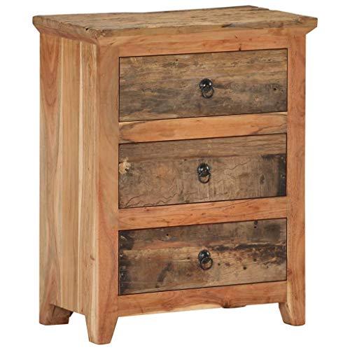 vidaXL Akazie Sideboard mit 3 Schubladen Kommode Schrank Mehrzweckschrank Schubladenschrank Anrichte 60x33x75cm Recyceltes Massivholz