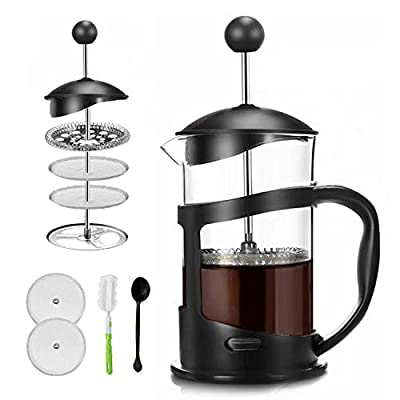 Covos French Press Coffee Maker 34oz(1000ml)Coffee/Tea Maker with 4 Level Filtration,Heat Resistant Borosilicate Glass Carafe with Durable Handle, with Cleaning Brush & Measuring Spoon