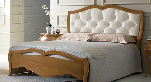 Dafne Italian Design Cama de Matrimonio de Madera Clara, cabecero Acolchado de Piel Blanca, 133 x 215 x 205 cm, para somier de 180 x 200 cm, 65 kg, cabecero y piecero, de Nogal