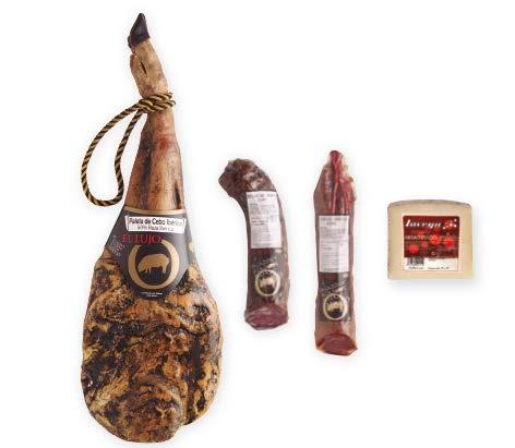 Weihnachtsschachtel mit spanischen Spezialitäten mit 1 iberico Vorder Schinken von 4,5 kg, Chorizo und iberischer Wurst, Käse