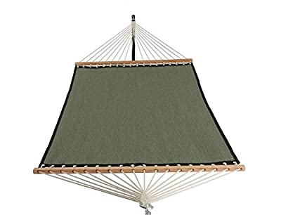 Patio Watcher 11 FT Quick Dry Hammock Bamboo Wood Spreader Bars Outdoor Patio Yard Poolside Hammock with Chain Hanging Kits and Hooks, Waterproof and UV Resistance,Dark Green