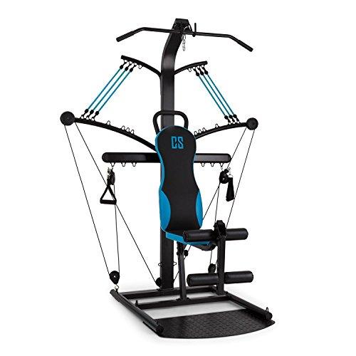 Capital Sports Hawser Fitness-Kraftstation mit Gummizug-Kabeltrainer und Bein-Curler (spannbarer Gummi-Seilzug, Training ohne Gewichtsscheiben, 2X Fußmanschette, Stahl)