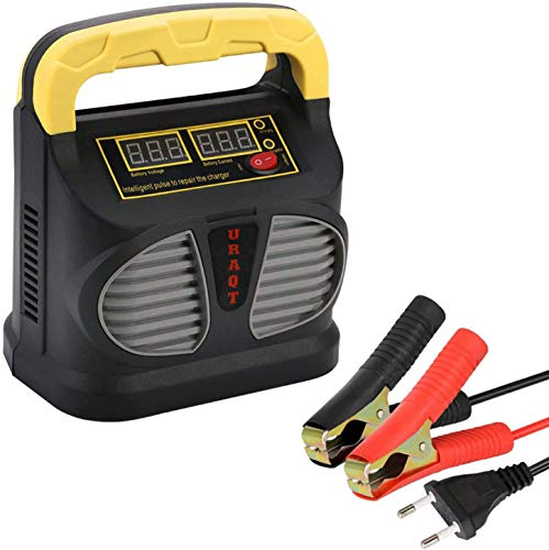 URAQT Cargador de Batería, 10A 12V/24V Mantenimiento Automático e Inteligente con Múltiples Protecciones para Automóviles, Motocicletas, ATVs, RVs, Powersports, Barco