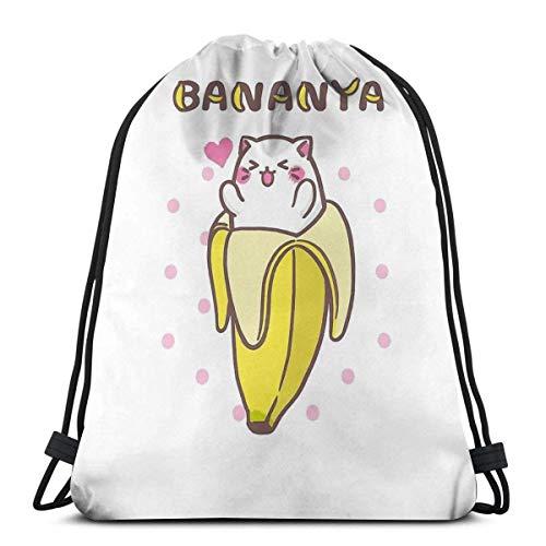 Bananya Banana Cat Kawaii Anime Manga Kitty Wasserdichter Faltbarer Sport Sackpack Gym Bag Sack Drawstring Rucksack