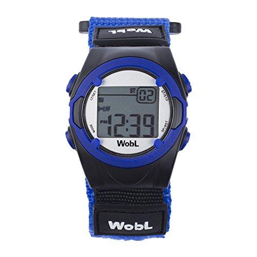 WobL - Montre de rappel vibrante (bleu) 8 alarmes, montre pour enfants, apprendre à pipi sur le pot et aide à l énurésie nocturne