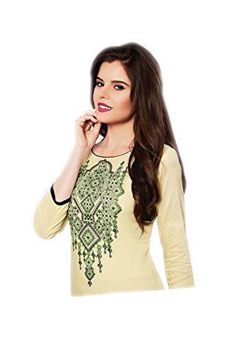Jayayamala Sandale Baumwolle Bestickt Tunika Designer/Kurtis/Kleid für Frauen (M)