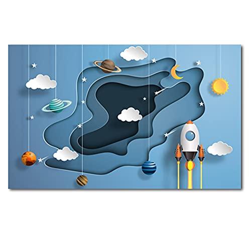 Zhengnengliang Cartoon Universe Astronaut Planet Home Decor Canvas Art Painting Bambini Favori Poster Un Asilo Nido per Soggiorno 50x70cm (19.68x27.55 in) J-572