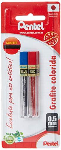 Grafite Colorido Pentel 0, 5Mm Azul + Vermelho, Pentel, Sm/Ppbr5-6, Azul/ Vermelho