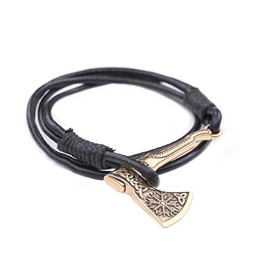 Skyrim Verstellbares Gothic-Runen-Axt-Logo mit keltischem Kont- und Wikinger-Knoten-Muster, heidnisches Armband, Schmuck