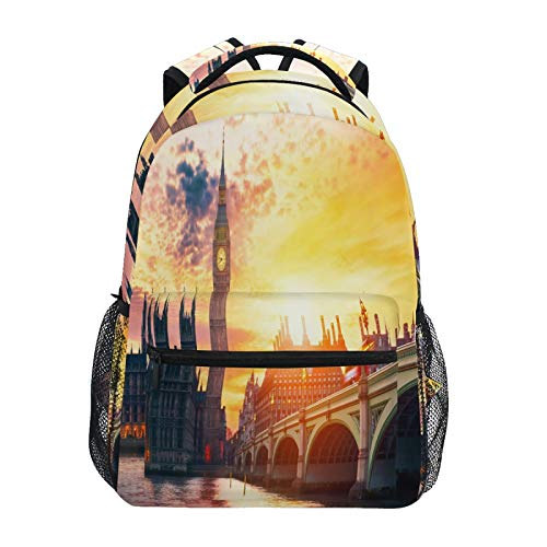 Ombra Backpack London City View Big Ben School Shoulder Bag Large Waterproof Durable Bookbag Laptop Daypack for Students Kids Teens Girls Boys Elementary