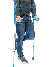 PEPE - Muletas Adulto (2 unidades), Muletas Adulto Regulables Aluminio, Muletas Ortopédicas, Muletas Adulto Regulables, Muletas para Caminar, (Color Azul).