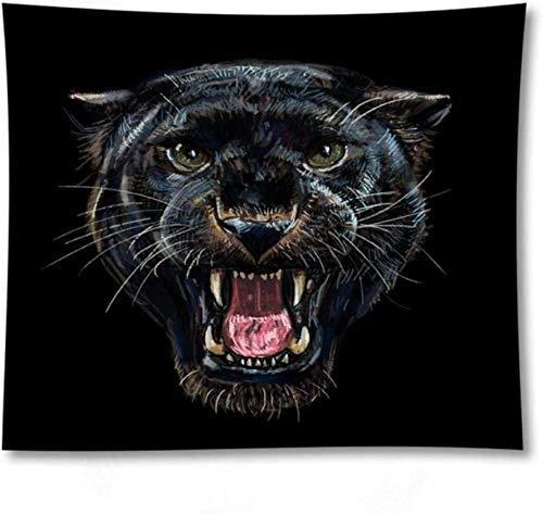 QIAO Tapiz Dormitorio Colgante de Pared Animal de Dibujos Animados Tigre Decoraci¨n Negra Ropa de Cama Boho Manta de Playa Manta Colcha Meditaci¨n Regalo 150X200Cm
