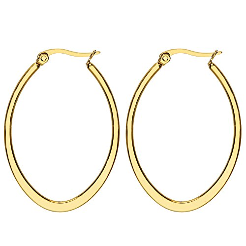 MYA art Damen Creolen Ovale Ringe hängend mit Stecker Edelstahl Gold Gelbgold Vergoldet Große Ohrringe Oval Groß Flach 6cm MYAGOOHR-42