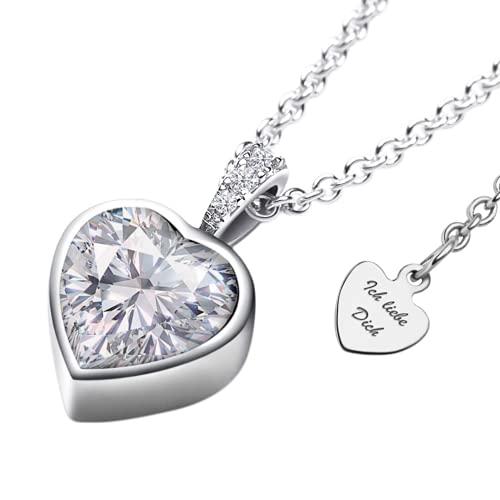 Halskette Silber 925 mit Zirkonia   Herzkette mit ETUI *Ich liebe Dich*   Damenkette mit Herz-Anhänger am Verschluss   romantische Kette Silberkette   Schmuck-Geschenk für Damen Frauen Freundin