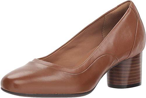 Clarks Women's Un Cosmo Step Pump, Dark Tan Leather, 9.5 M US