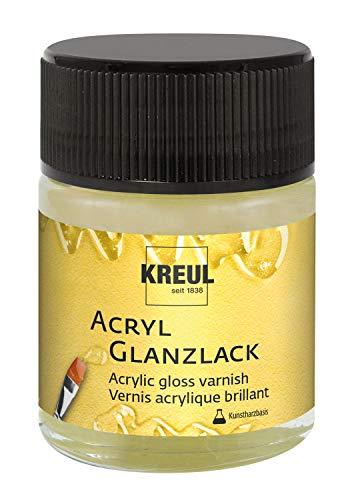 Kreul 79405 - Acryl Glanzlack auf Kunstharzbasis, Schutz- und Überzugslack für durchgetrocknete Aufmalungen, für Innen und Außen geeignet, 50 ml Glas, glänzend transparent