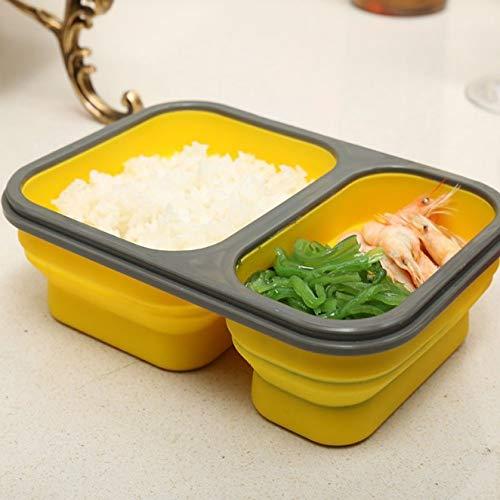 yylikehome 900ml Silikon zusammenklappbare tragbare Brotdose Frischhaltedose 2-Zellen-Schüssel Bento-Boxen Klapp-Brotdose Eco Friendly Pink