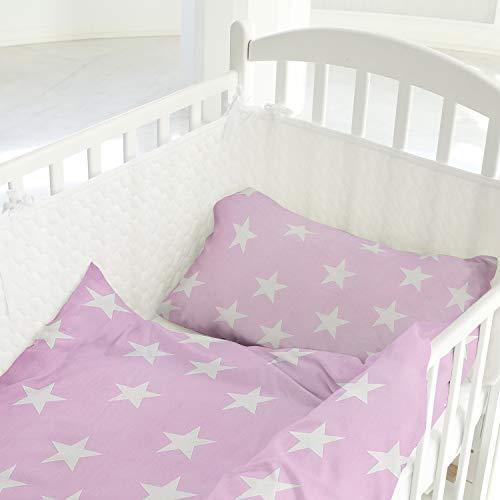 Aminata Kids - Baby Bettwäsche 80x80 Baby Betten Set 35x40 Sterne rosa Decken Bezug für Stuben-Wagen oder Kinder-Wagen Wiegen-Set Kinder-Decke Jungen Mädchen Baumwolle Rose Weiss Stern-Motiv