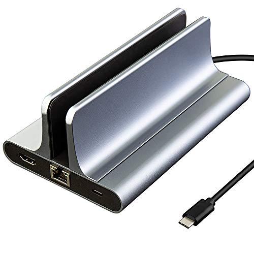 Verticale laptopstandaard, bureaustandaard met verstelbaar dock, met USB C Hub, HDMI 4K, Type C Power Delivery Port, Gigabit Ethernet, 3 USB 3.0 poorten voor MacBook Pro/Air, Samsung, USB C apparaten