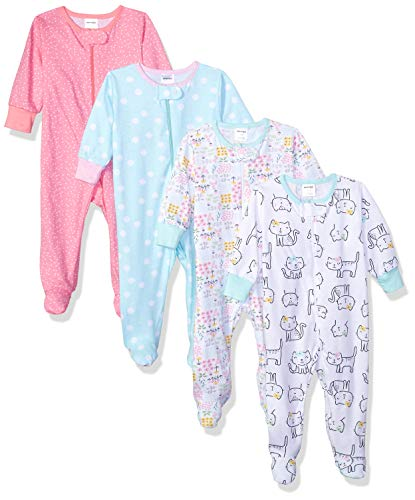 Onesies Brand Baby Girls' 4-Pack Sleep 'N Play, Cats, 0-3 Months