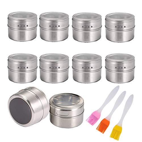 Mengger tarro de la especia Magnética Botes Condimentos Acero Inoxidable de Almacenamiento Salsa Cocina por Refrigerador Ideal para Sal Pimienta Hierbas 10 contenedores + 3 Cepillo Especias Bote