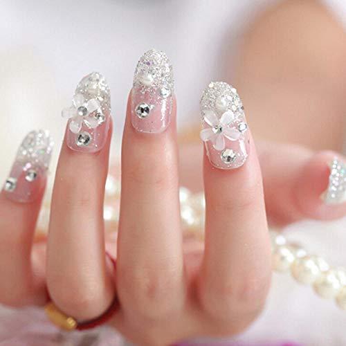 YQSL 24pcs / set mariage doigt français faux ongles conseils mariée artificielle 3d faux ongles